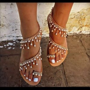 *NEW*Greek boho embellished jeweled summer sandals